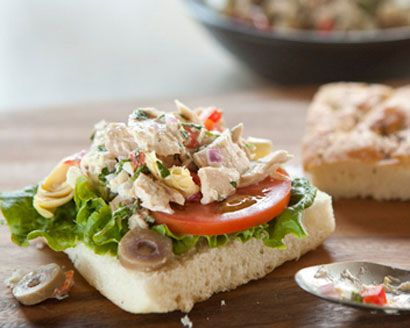 Mediterranean Tuna Salad I left out the peppers cause I HATE them. But this is very good!