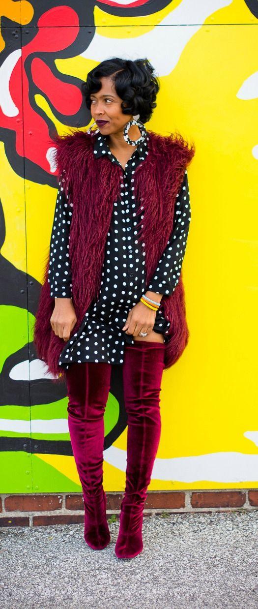 Winter Outfit Idea, Fur Vest, OTK boots, Velvet, Polka Dot Dress, Indianapolis Style Blogger,Sweenee Style