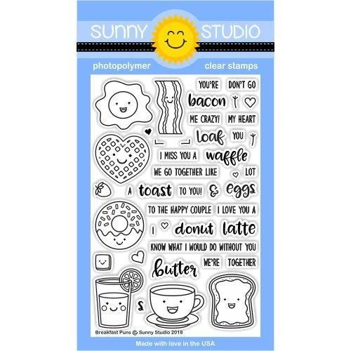 Sunny Studio Stamps Breakfast Puns Love Themed 4x6 Clear Photopolymer Stamp set                             $14.99