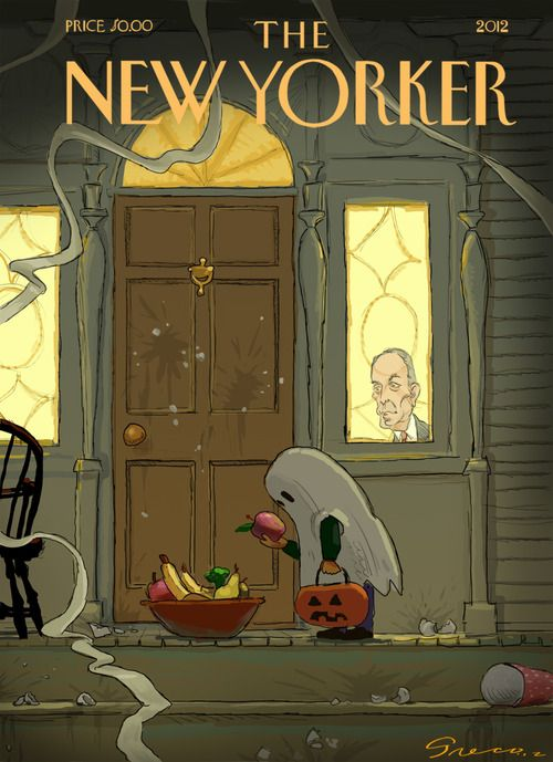 Halloween Contest: The Winner! By Chris Greco As New Yorkers we immediately recognized our Ghoulish mayor as the curmudgeon at the window. I might have suggested to the artist that he make it Michelle Obama for a joke with more national scope. It's a good idea, either way, and nicely executed.