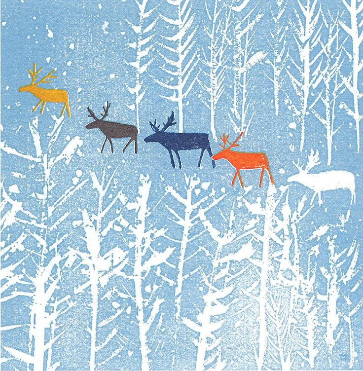 Christmas card design by woodblock printing company Mocchi Mocchi
