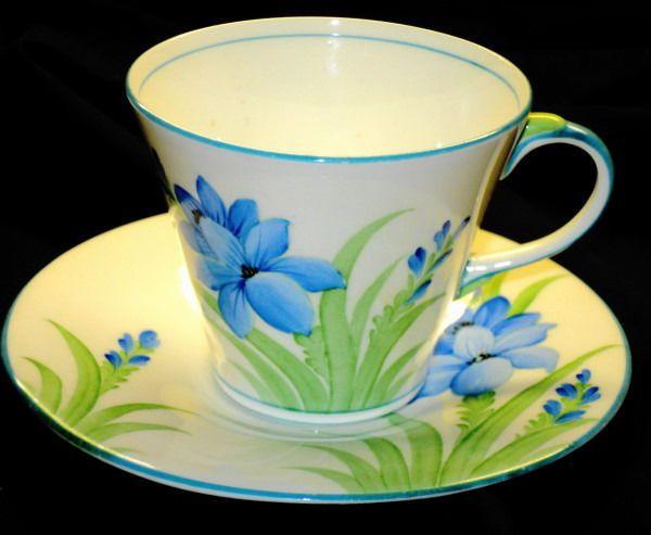 AYNSLEY CHINA ENGLAND ROYAL ART DECO BLUE GREEN  TEA CUP AND SAUCER #AynsleychinaEngland