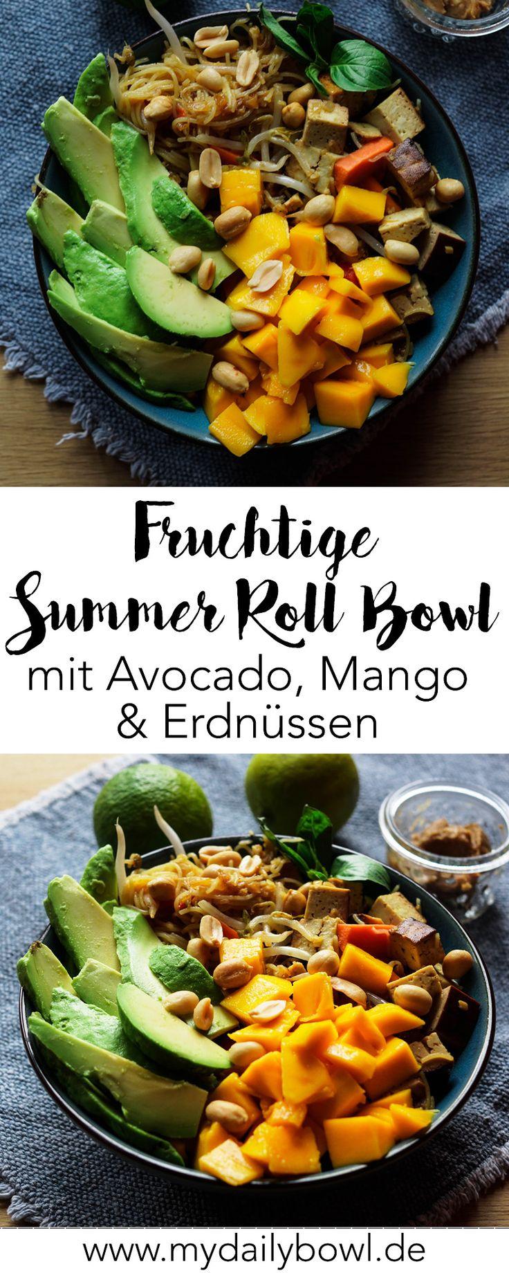 Vegane Summer Roll Bowl mit Mango und Avocado
