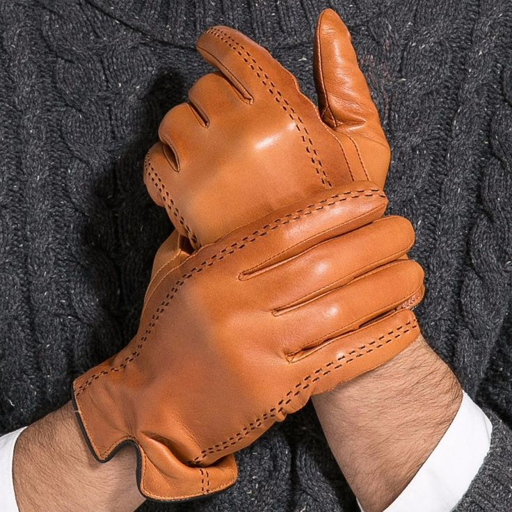 Gloves, Winter, Men's, Leather, Stiched