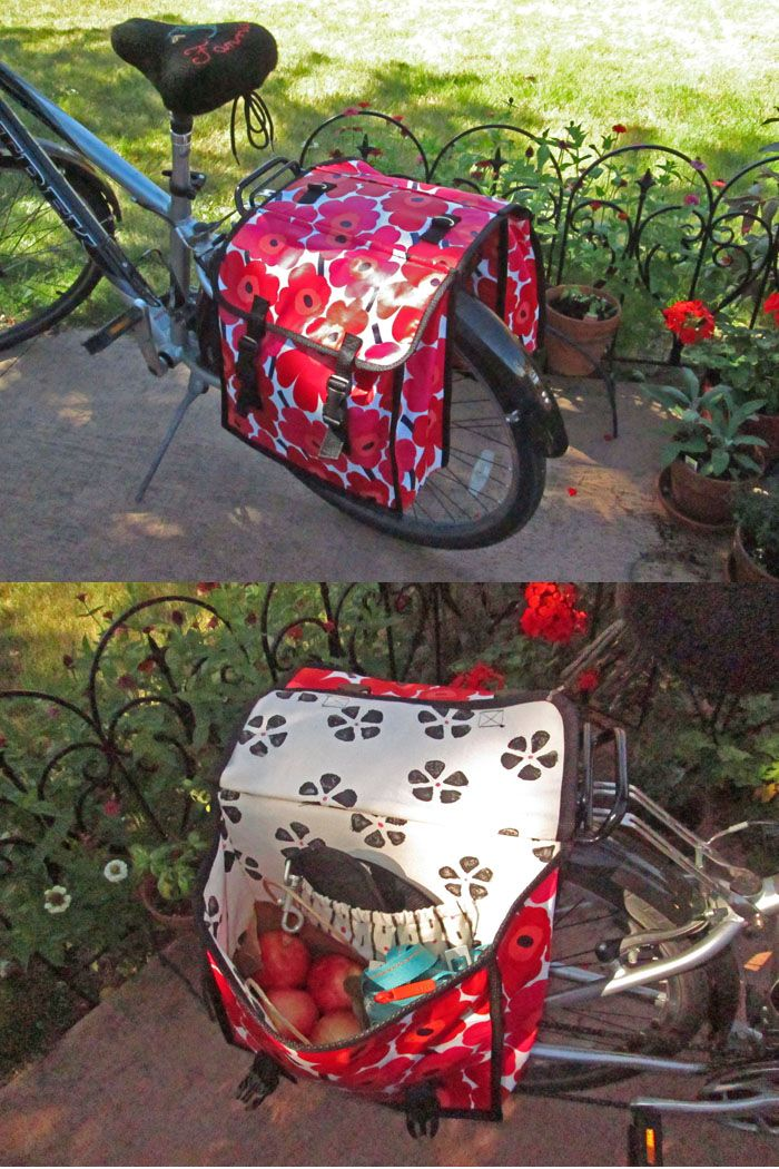 Pattern is The Bicycle Double-Pannier Bag from A Bag for All Reasons by Lisa Lam.