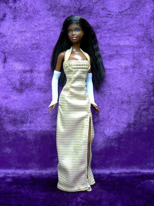 Barbie Free pattern for long slim gown with slit