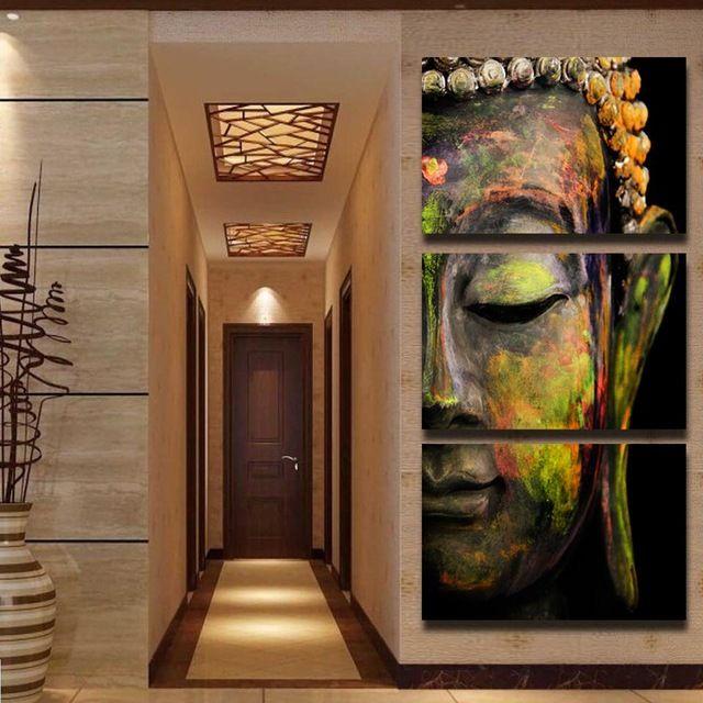 2017 Hot Sale Handmade Modern Buddha Head Oil Painting On Canvas Buddha Religion Wall Art Canvas Home Decoration Murals Unframed