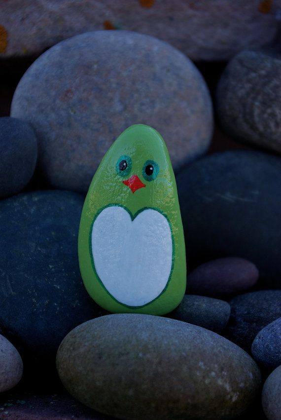 Delightful green penguin with a very friendly face. This would make a sweet gift to someone to show how you care. It could snuggle into a kids