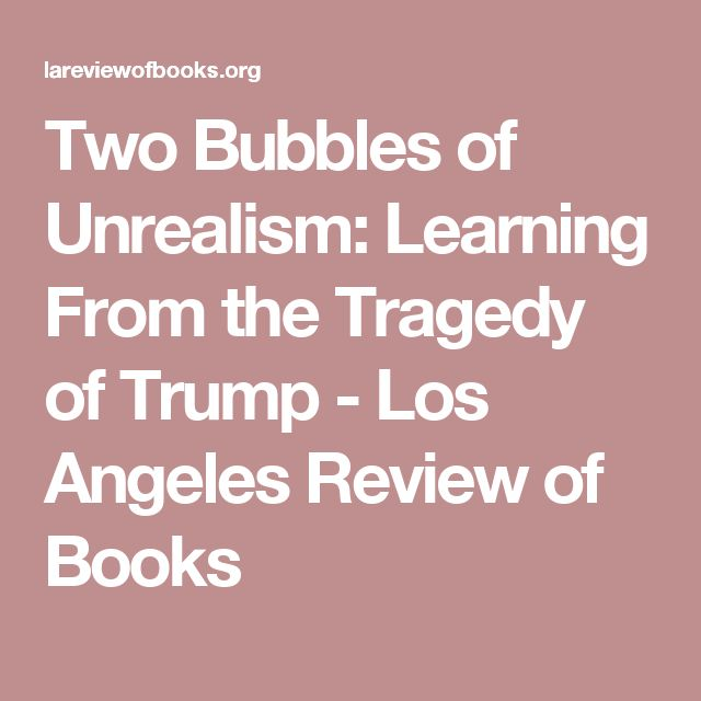 Two Bubbles of Unrealism: Learning From the Tragedy of Trump - Los Angeles Review of Books