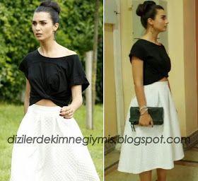 Kara Para Aşk - Elif (Tuba Büyüküstün), Topshop White Skirt