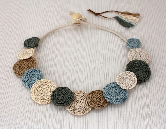 Statement Necklace Crochet Necklace Cotton Necklace by stasiSpark