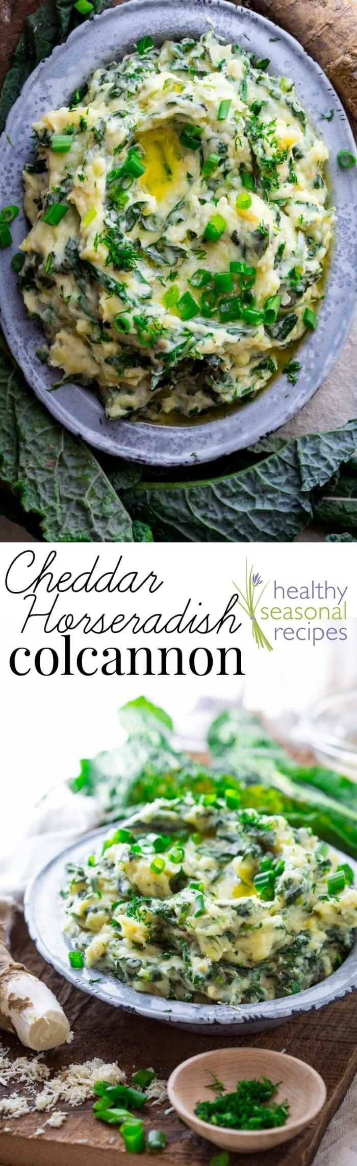 Cheddar Horseradish Colcannon, made with garlicky kale, Vermont cheddar, freshly grated horseradish root, a little bit of dill and sweet cream butter. Try it for St. Paddy's day. healthyseasonalrecipes.com by @healthyseasonal