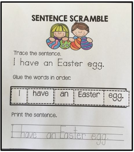 An engaging activity for K-1 students! Trace the sentence, glue the words in order and then print. Works great as independent work or in a Literacy Center!