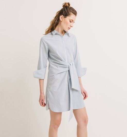Robe-chemise+nouée+Femme