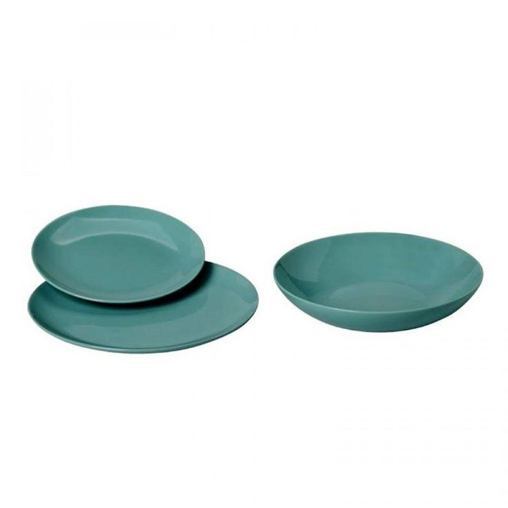 Σετ/18 σερβίτσιο τυρκουάζ(6 ρηχά,6 βαθιά & 6 φρούτου) Stoneware, Dishwasher Safe, Microwave Safe, Oven Safe