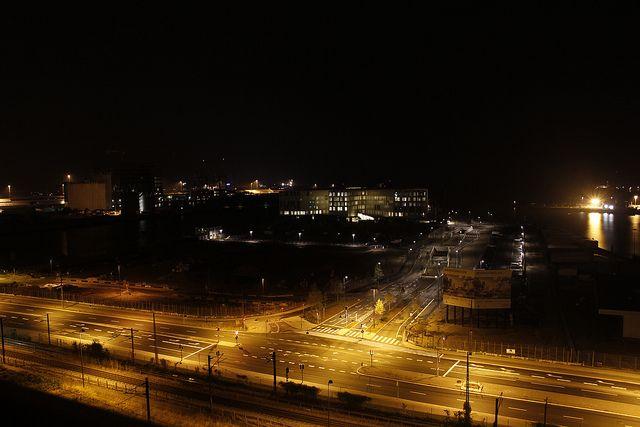 The UN City complex in Copenhagen, Denmark by night.