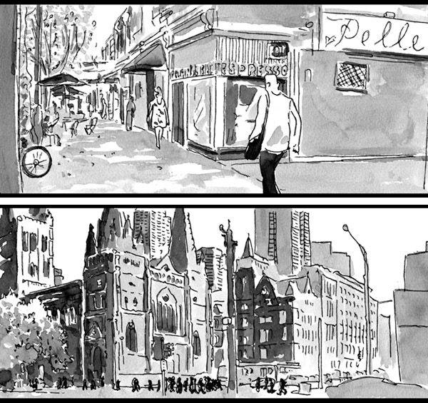 Slides fromMelbhattan,a new animated short filmbyOslo Davis