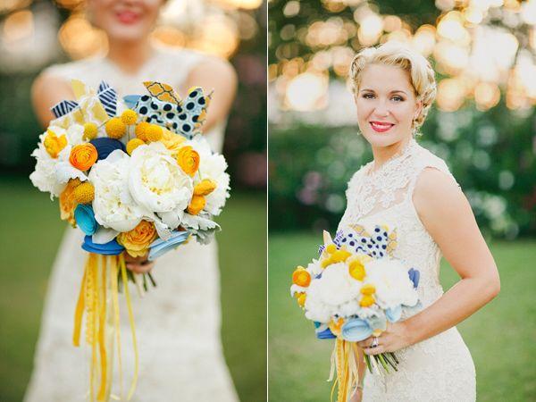 Whimsical Travel Wedding - yellow, navy, AND pinwheels
