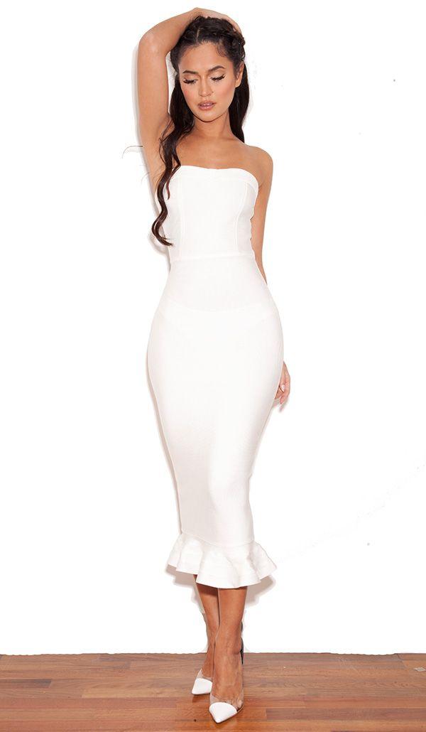 Clothing : Bandage Dresses : 'Fabrizia' White Bandage Strapless Fluted-Hem Dress