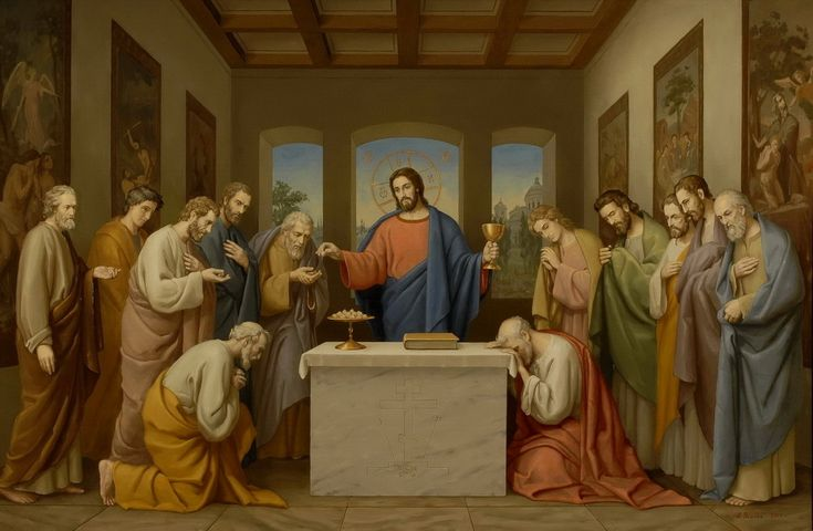 Монументальная икона Тайная вечеря в виде Евхаристии, для братской трапезной Свято-Троицкой Александро-Невской Лавры. На иконе представлено символическое изображение Тайной вечери в виде Евхаристии как главной части литургии.  Все канонично: в центре престол, а на нём - Евангелие и дискос с хлебом. За престолом - фигура Христа, слева и справа - две  группы апостолов, одной Христос подает хлеб как истинное тело, другой - вино как истинную кровь. http://usalev.ru/The_Last_Supper.html
