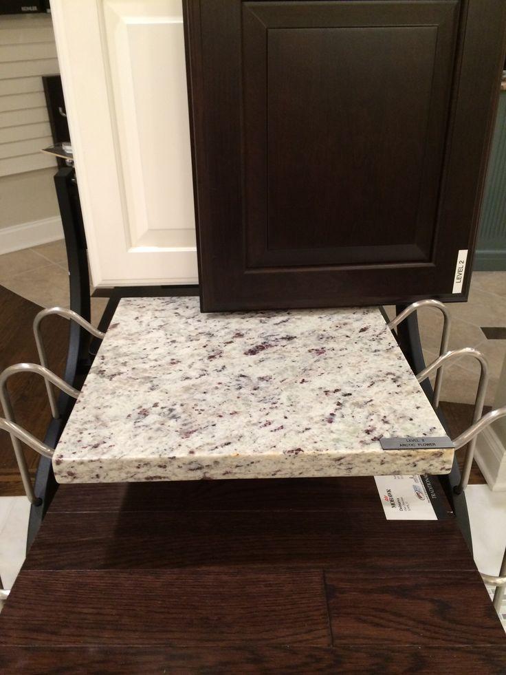 Kitchen Cabinets White Wall And Base Espresso Island. Artic White Granite  For Island And Counter