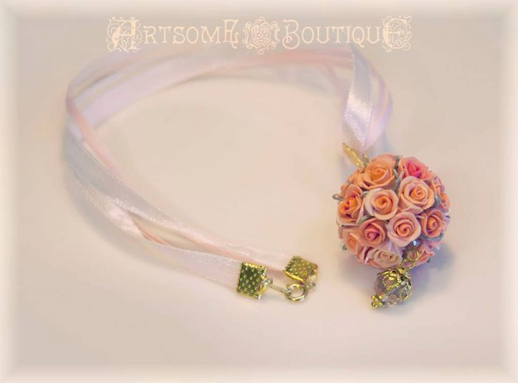Pomander Kissing Ball Pendant, Rose ball, Bridesmaid Gift, Gift for Her, Pastel Roses,Mother's day gift, Botanical Jewelry, Wedding Necklace by ArtsomeBoutique on Etsy