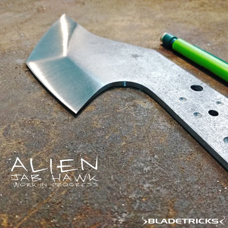 Some work in progress: the grinding of the new Bladetricks Alien jab tomahawk is finished and this flying beast is ready to receive some serious heat in our electric kiln #knife #tactical  #custom