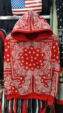 Punk rouge coton imprimé hommes à capuche usure danse rock rue garçon zipper sweat veste DJ bar RHUDELA Bandana capuche s - xxl(China (Mainland))