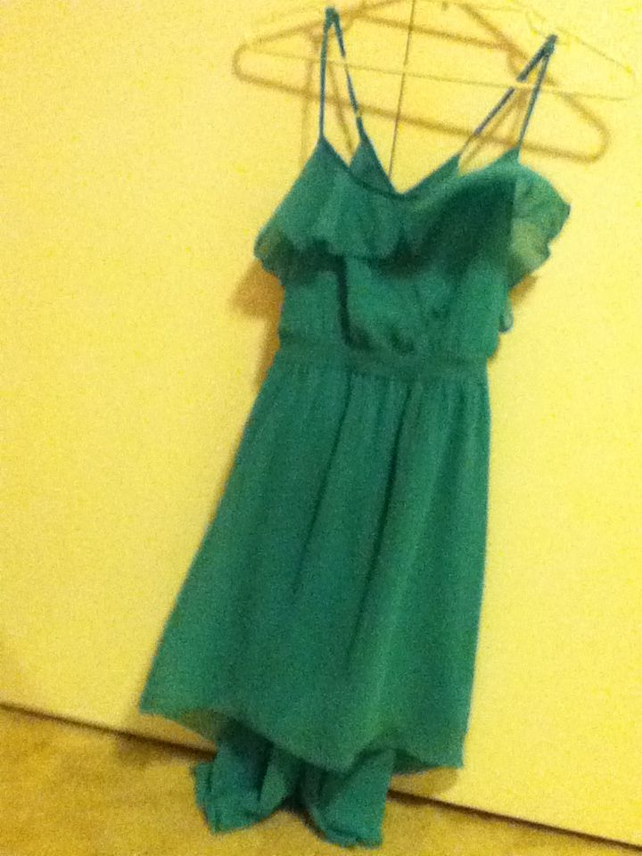 9 - teal/green asymmetrical dress, criss-cross back, valleygirl, size 12. For length on me it's great but seeing as I'm the leader of the itty bitty titty committee, I struggle a little in that aspect