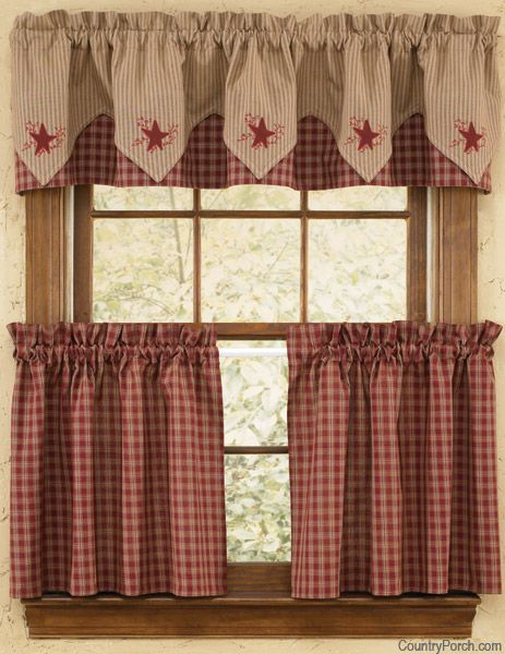 Sturbridge Star Embroidered Lined Pointed Curtain Valance