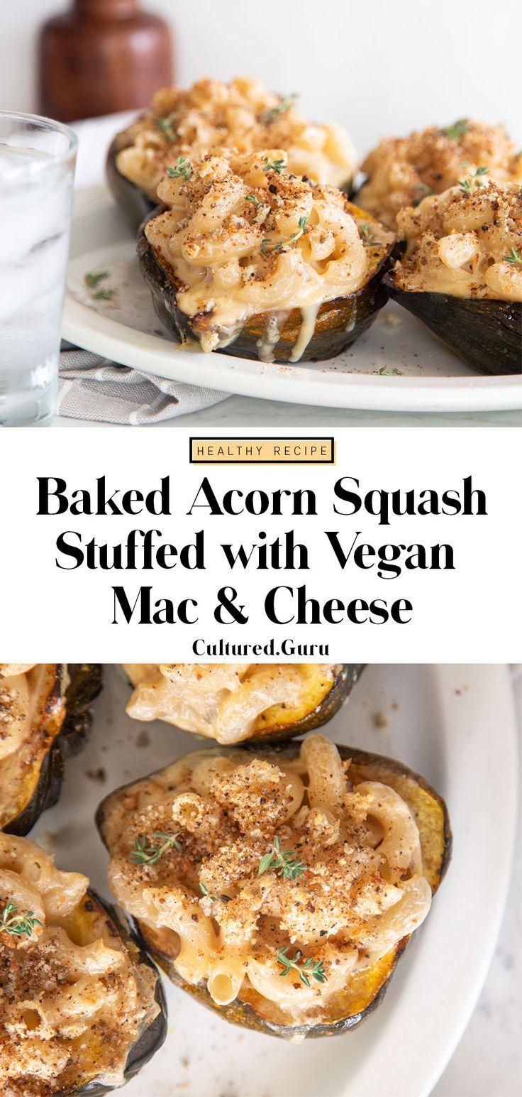 Baked Acorn Squash Stuffed With Vegan Mac And Cheese Recipe