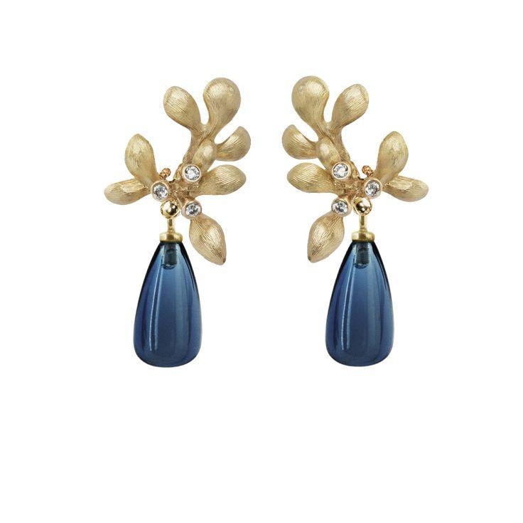 Ole Lynggaard Earring Gipsy: gold 18kt, topaz and diamonds. Edelgedacht Gent - De Pinte