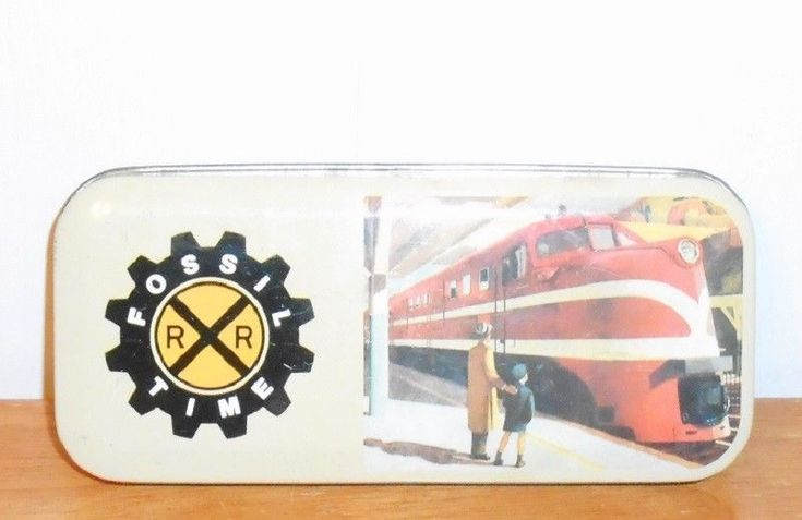 1991 Fossil Time RR Train Fossil Watches Metal Tin Watch Box no watch inside #Fossil