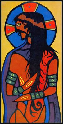 """Indian Jesus Christ"", 53""x27"", © 1974 Norval Morrisseau ""I went through a phase of painting Christian religious pictures, but yet I always saw them with the eyes of the Indian. ...but when I translate the thoughts that are in my mind, when I put them down on paper or on canvas, something different comes out. It's one thing to visualize the Christian figures and another to paint them."""