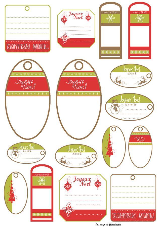 Étiquettes de Noël à imprimer