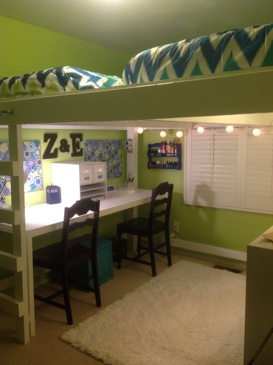 Finished Product Double Loft Platform With Built In Desk And