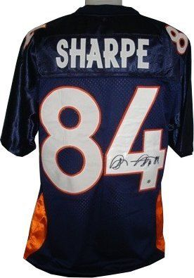 Shannon Sharpe signed Denver Broncos Navy Prostyle Jersey . $299.25. Shannon Sharpe was drafted in the 7th round of the 1990 NFL Draft, 192nd overall, by the Denver Broncos. He remained with Denver until 1999, winning two championship rings in Super Bowl XXXII and Super Bowl XXXIII in the process. In 2009, Sharpe was named to the Denver Broncos Ring of Fame and the franchise's 50th Anniversary Team. Shannon Sharpe has hand autographed this Denver Broncos Navy Prosty...