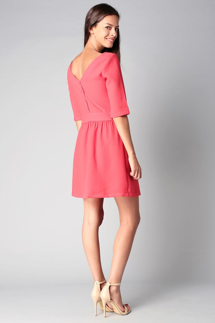 Robe corail dos boutonné Maddie Clo&Se by MonShowroom sur MonShowroom.com