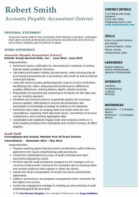 accounts payable resume example inspirational accounts