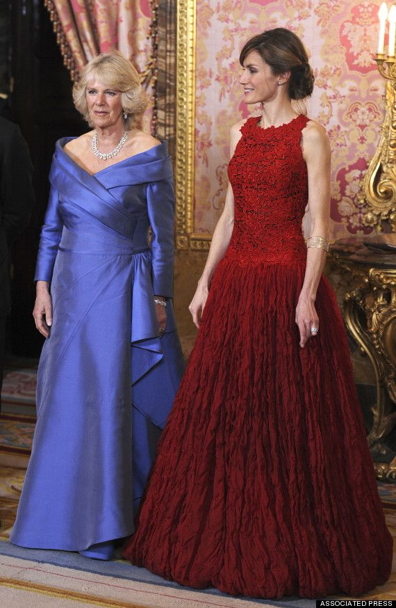 Queen Letizia of Spain in Lorenzo Caprile hosting the Prince of Wales and Duchess of Cornwall in 2011