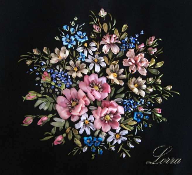 Pink and blue flowers ribbon embroidery