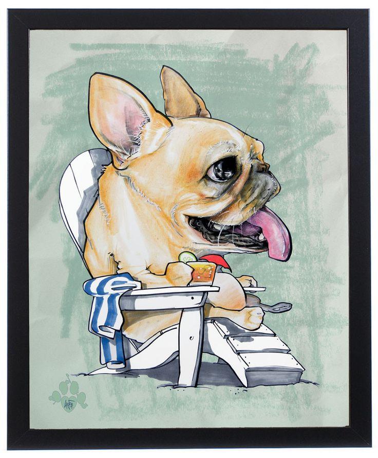 French Bulldog Beach Bum Art Print – JohnLaFree.com #frenchbulldog #frenchie #johnlafree