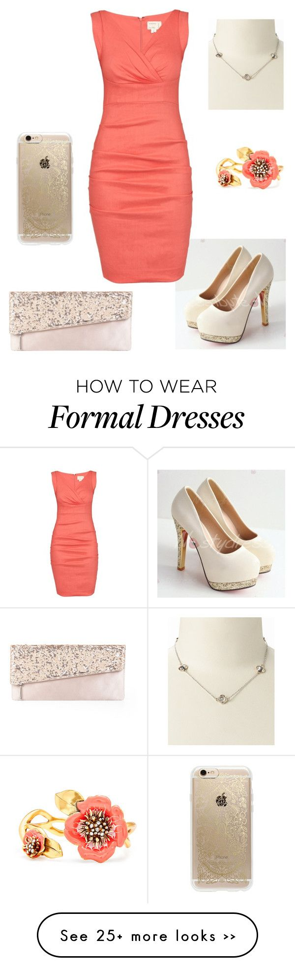 """""""Coral & Gold Formal Outfit"""" by romnell on Polyvore featuring Nicole Miller, BCBGMAXAZRIA, Rifle Paper Co and Oscar de la Renta"""