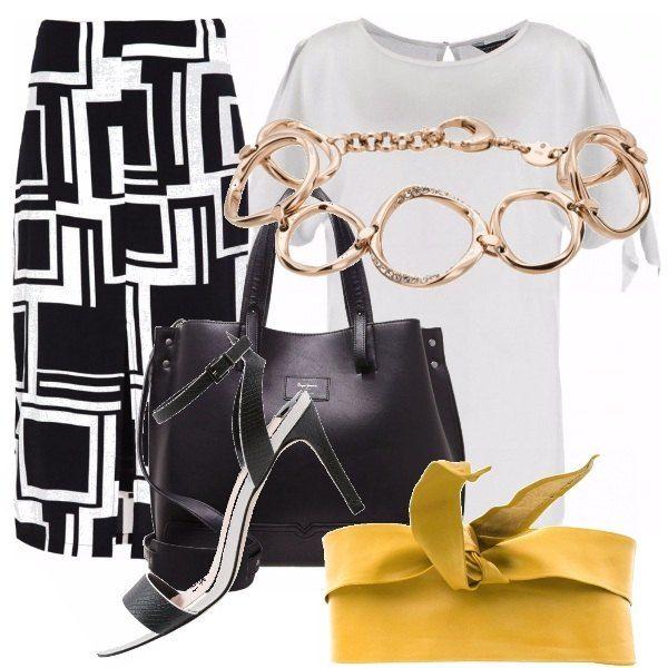 Per un look semplice da ufficio/passeggio propongo blusa bianca liscia con gonna in stampe geometriche a tubino bianco e nera. Abbino anche dei sandali bianco e neri con borsetta a mano, color nera. Accompagnano questo look, braccialetto a forme asimmetriche e cintura fusciacca gialla, che contrasta il look bianco e nero.