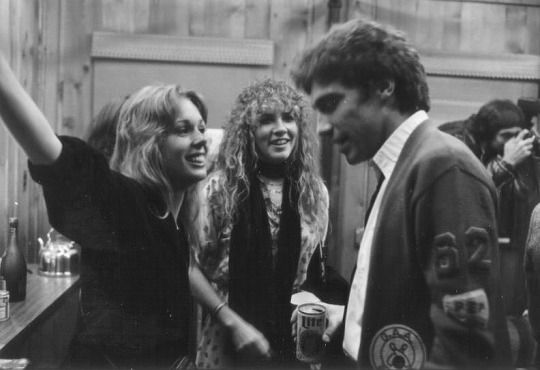 """Mary Torrey, Stevie ~ ☆♥❤♥☆ ~ & Tom Moncrieff at a 1979 New York party; """" Stevie took both Sara & I to Maui on a vacation; at the time Stevie was """"with"""" Mick. I had a bad crush on Sara, who'd just separated/divorced her husband Jim Ricor; Mick arrived later; it was probably then that the attraction between Mick & Sara began, a hard time for both Stevie & I. Soon after we cut the demo of the song 'Sara' & it was pretty emotional, I can tell you. More rumors ..."""" ~ Tom Moncrieff"""