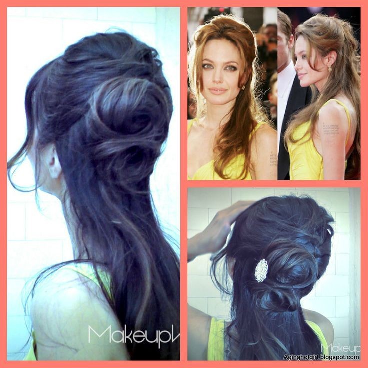 How to make a flower bun, formal easy hairstyles updo on medium long hair, Inspired by Angelina Jolie Red Carpet look. Hair tutorial.  Great for Wedding, Homecoming, Prom, Formal Occasion. Upstyle.