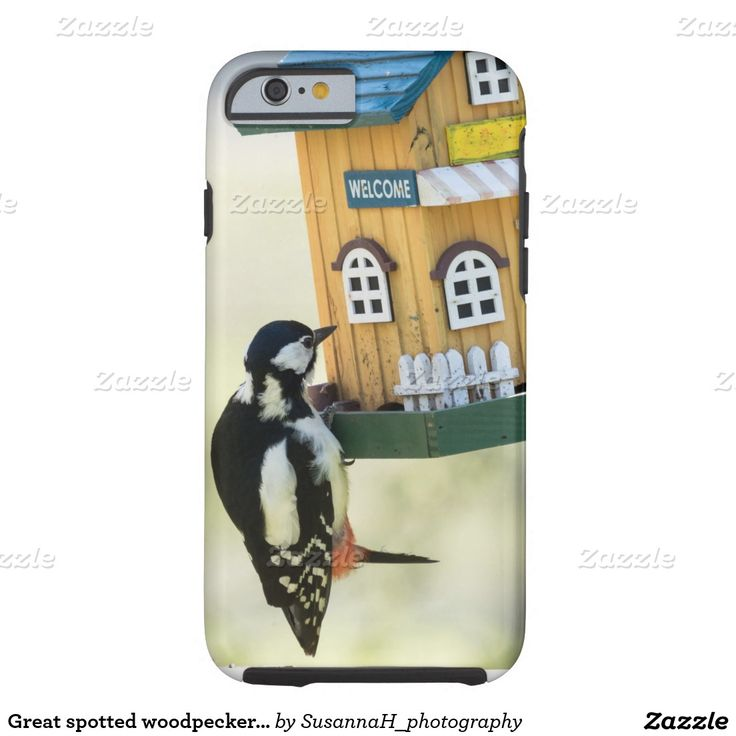 Great spotted woodpecker on a visit tough iPhone 6 case