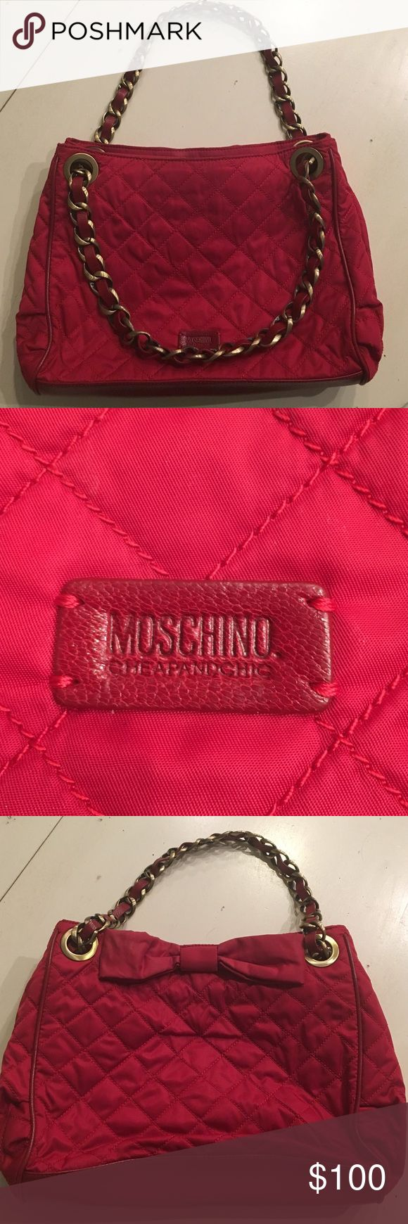 Red Used Moschino Quilted Shoulder Bag Red used quilted Moschino shoulder bag. Pockets and zippers on inside. 12 inches by 9 inches by 3 inches. Negotiable on price. Beautiful bag!! Willing to sell in bundle. Moschino Bags Shoulder Bags
