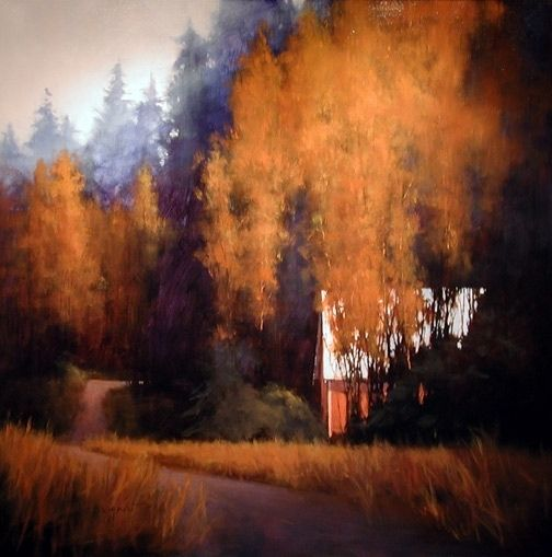 "Barn In TheTrees : Romona Youngquist Oil ~ 60"" x 60"""