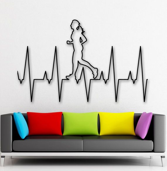 Wall Stickers Healthy Lifestyle Heart Running by ...